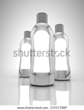 White bottle with gray cap on reflective surface and white background - stock photo