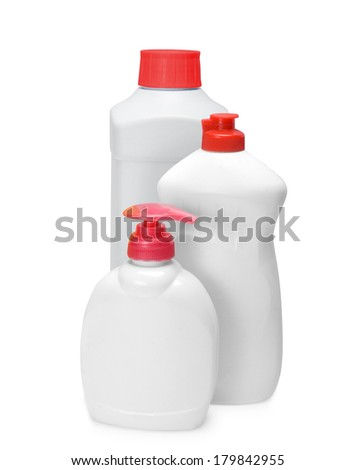 white bottles isolated on white background