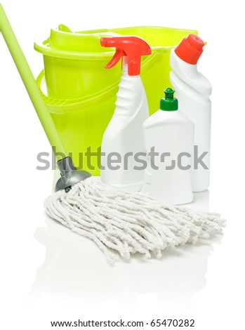 white bottles with bucket and mop
