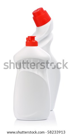 white bottles with red cover
