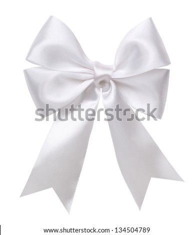White bow isolated - stock photo