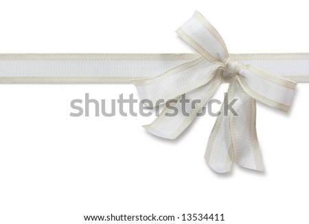 White bow isolated on white background - stock photo