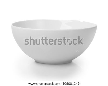 White bowl isolated on white background - stock photo