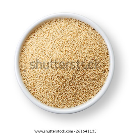 White bowl of healthy white quinoa seeds isolated on white background - stock photo