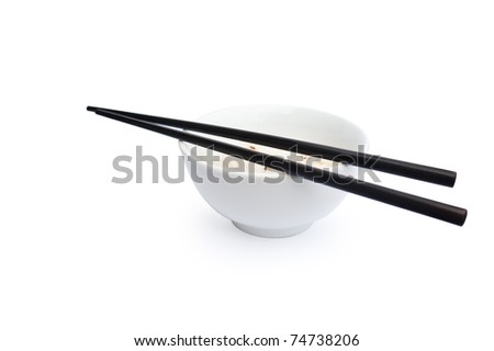 White bowl of rice with black chopsticks on the white background - stock photo