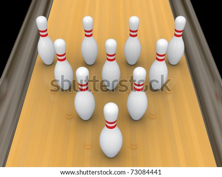 White bowling pins on bowling track.