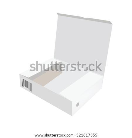 White box, cardboard box, software box, carton box, opened box - stock photo
