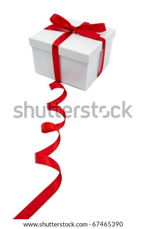 White box gift and red ribbon and bow