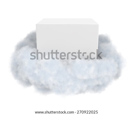 White box in a cloud isolated on white. - stock photo