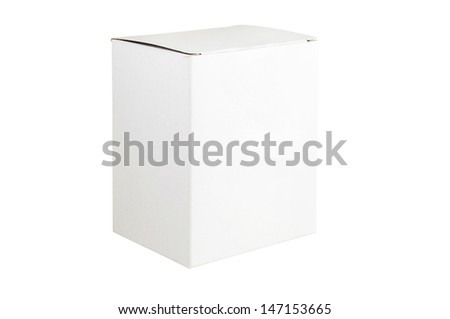 White box isolated on white background with clipping path  - stock photo