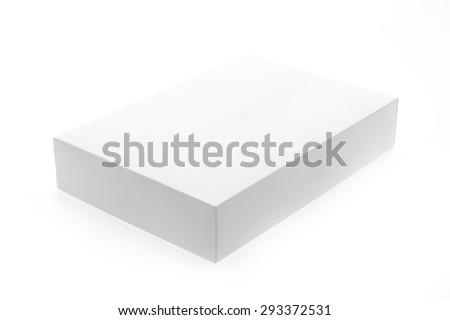 White box mock up isolated on white background - stock photo