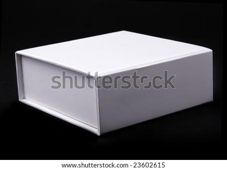 white box on a black background - stock photo