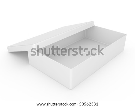 White box over on a white background - stock photo