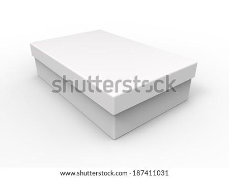 White box, rectangular shape - stock photo