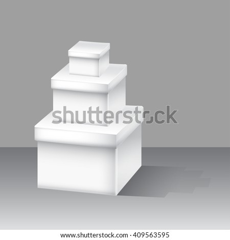 White box set. illustration for Web design on background. - stock photo