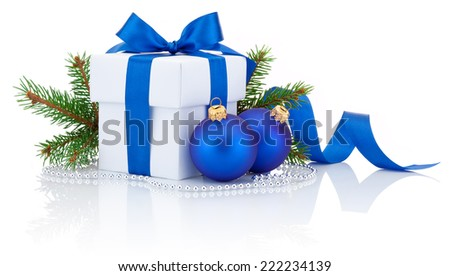 White box tied blue ribbon bow, pine tree branch and two christmas balls Isolated on white background - stock photo