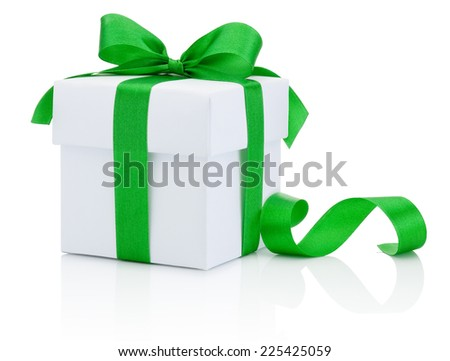 White box tied green ribbon bow Isolated on white background - stock photo