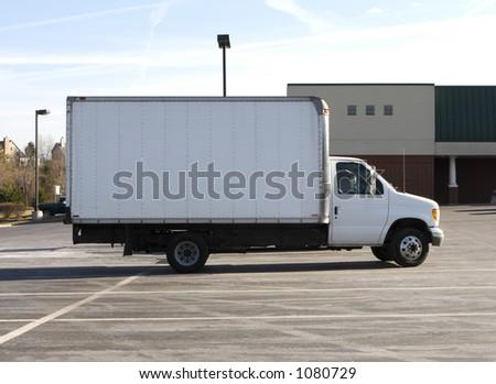 White Box Truck - stock photo