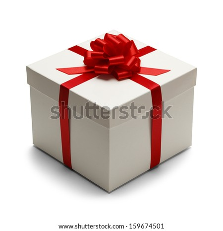 White Box with Lid and Red Bow with Ribbon Isolated on White Background. - stock photo