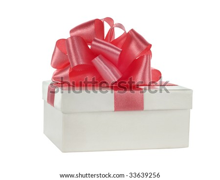 white box with pink satin ribbon on white background