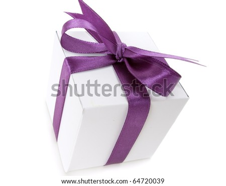 White box with purple ribbon on white background