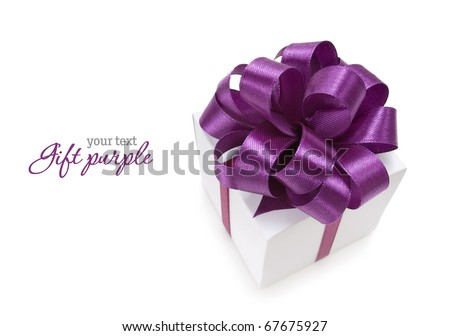 White box with purple ribbon on white background. Copy-space - stock photo