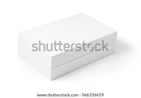 White box with real shadow mockup isolated on white background. Luxury product package. - stock photo