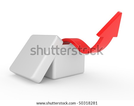 White box with red arrow over on a white background