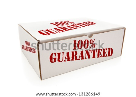 White Box with the Phrase 100% Guaranteed on the Sides Isolated on a White Background. - stock photo