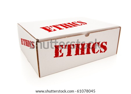 White Box with the Word Ethics on the Sides Isolated on a White Background. - stock photo