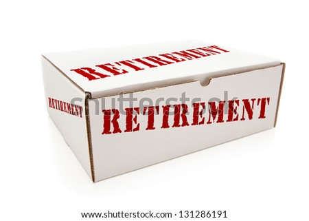 White Box with the Word Retirement on the Sides Isolated on a White Background. - stock photo