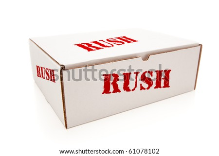 White Box with the Word Rush on the Sides Isolated on a White Background.