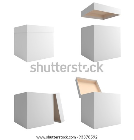 White boxes are isolated on a white background - stock photo
