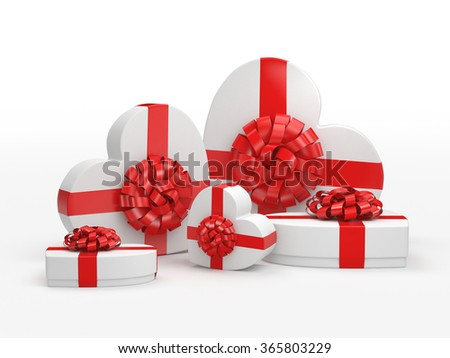 White boxes with heart shaped red ribbon