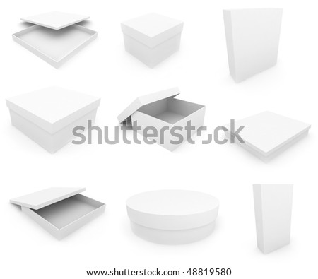 White boxs over white background. 3d render - stock photo