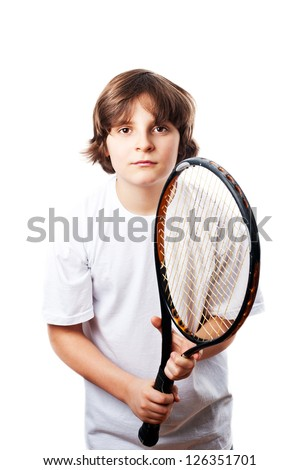 White boy with brown eyes and brown hair in a white T-shirt with the racket, white background
