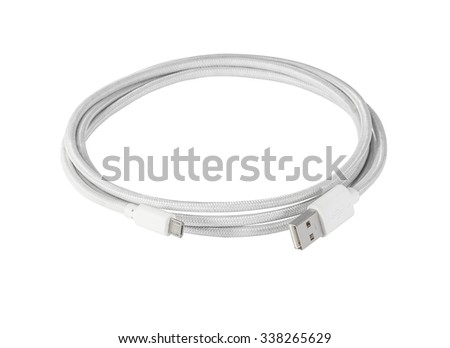 White  braided wire usb to miniusb cable isolated on white - stock photo