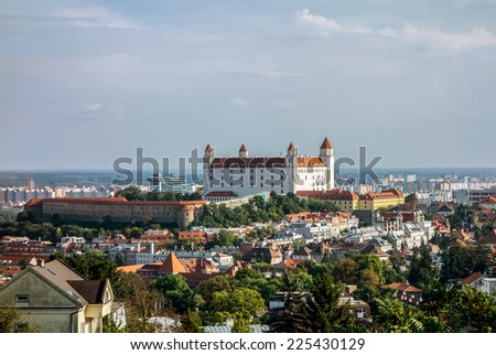 White Bratislava castle after reconstruction in sunset - stock photo