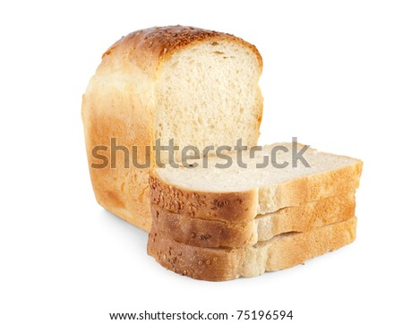 White bread isolated on a white background - stock photo