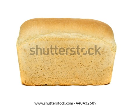 White bread loaf isolated on white background