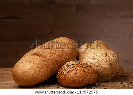 white bread over wooden background - stock photo