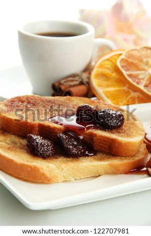 White bread toast with jam and cup of coffee, isolated on white