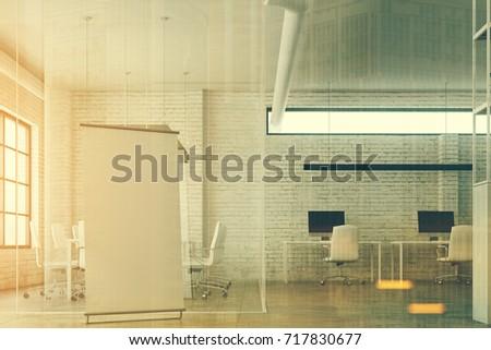 White Brick Open Space Office Interior Stock Illustration 717830677 ...