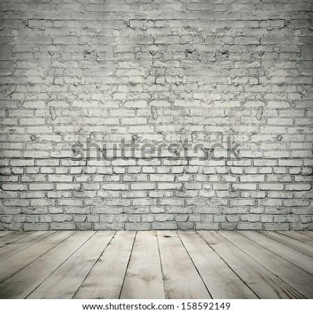 White brick room. Vintage background. - stock photo