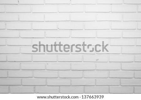 White Brick Wall. - stock photo