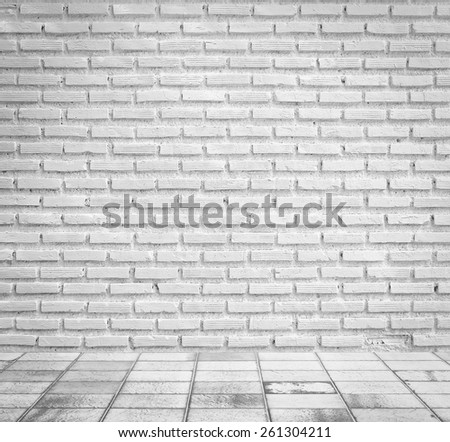 white brick wall and floor - stock photo