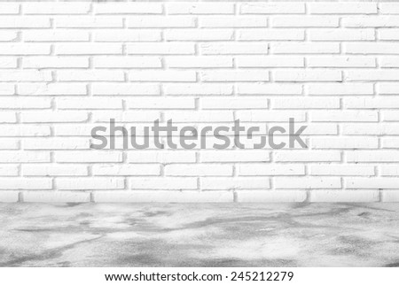 White brick wall and floor background - stock photo