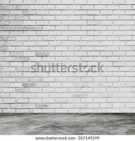 white brick wall and room interior with floor concrete