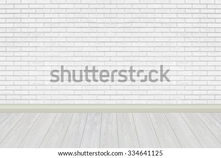 white brick wall and white wood floor for background - stock photo