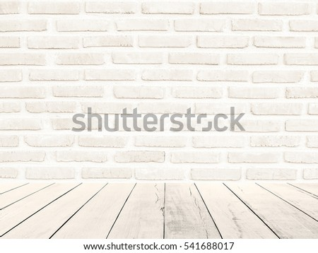 White Brick Wall Background With Wood Floor Foreground Gray Texture Stone Concreterock